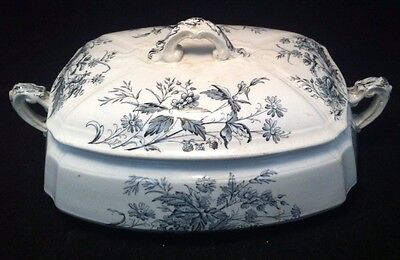 Ashworth Bros. Victorian Aesthetic Mayfield Black Floral Transferware Tureen