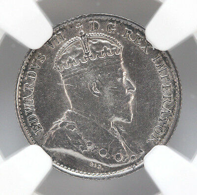 1903 H Canada 5 Cents Silver KM13 Edward VII Small H - NGC AU 90175h