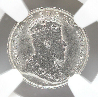 1910 Canada 5 Cents Silver KM13 Edward VII Maple or Round Leaves - AU 90245h
