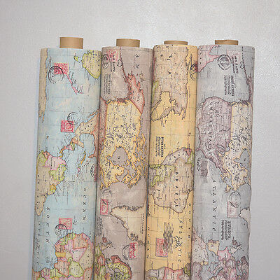 """Vintage World Map Cotton Linen Fabric Curtain & Upholstery, 4 Colours 54"""" Wide"""