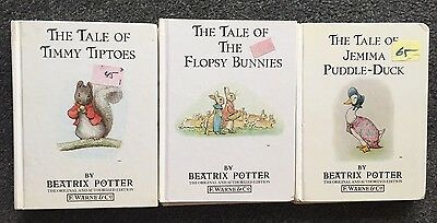 3 Beatrix Potter Books Tale of Jemima Puddle-Duck Flopsy Bunnies Timmy Tiptoes