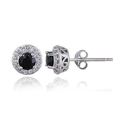 Sterling Silver 1ct Sapphire & White Topaz Halo Stud Earrings