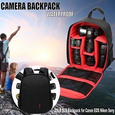 Red Waterproof DSLR Camera Lens Backpack Case Bag For Nikon Canon Sony -US