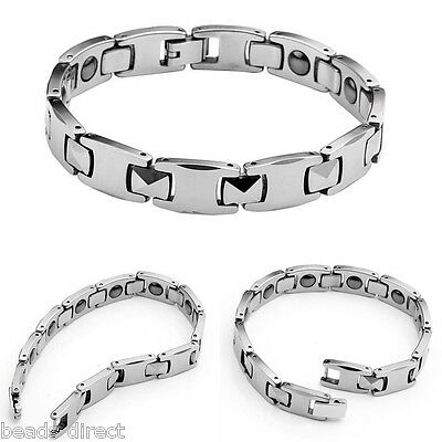 Men's Silver Tone Tungsten Steel Magnetic Therapy Bracelet Wristband Bangle Gift