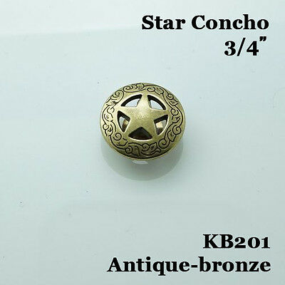 【KB201】3/4'' Western Conchos Texas Star Saddle Concho Saddlery Antique-Bronze