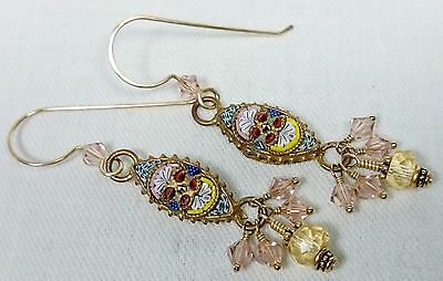 Italian Micro Mosaic Earrings, Gold Filled Components, Citrine, Crystals