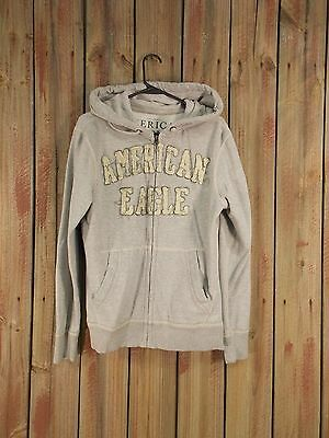 American Eagle Hoodie Jacket Applique Graphics Gray Vintage Fit Sz M Full Zip