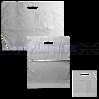 New White Patch Handle Carrier Gift Retail Shopping Plastic Bags for Retail Shop