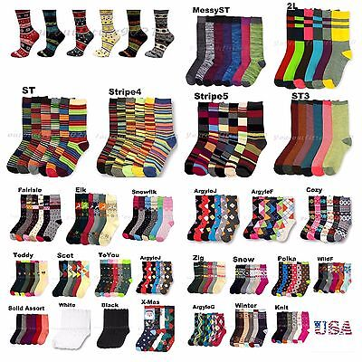 Lady Design Crew Socks Pattern Argyle Stripe Casual Men Women Girl 9-11 3 6 12P