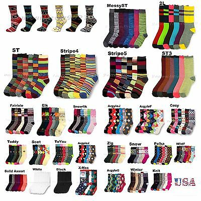 Women Teen Fashion Crew Socks Pattern Argyle Stripe Casual  9-11 3 -6 -12 Unisex