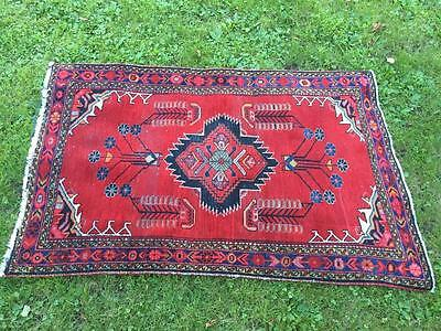 "Vintage Fine Persian Golpayegan VISS Hand Woven Floor Rug 3'.2"" x 5' Red NICE"