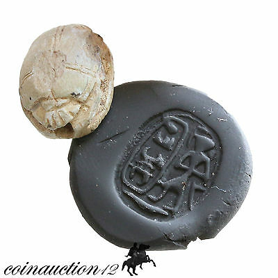 Ancient Egyptian Glazed Bead Seal Scarab 1500-1000 Bc