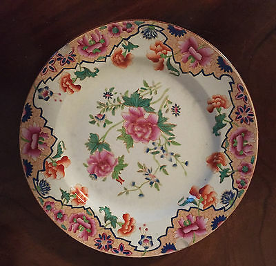 Antique 19th c. English Spode Pearlware Plate Chinese Famille Rose Peony 1820