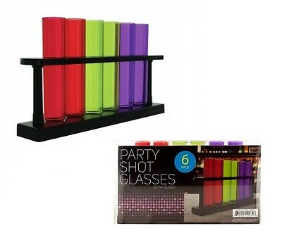 6 Multi Color Test Tube Bar Shot Glass Shatter Proof Shooter Party w/ Rack Stand
