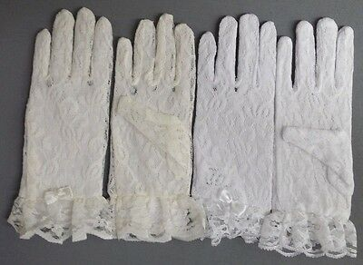 NEW #916 Kids Girls Communion Baptism WEDDING PAGEANT Ivory WH Lace Wrist Gloves