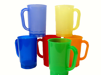 6  1 Pint Plastic Beer Mugs Translucent  Red Orange Green Blue Yellow Purple