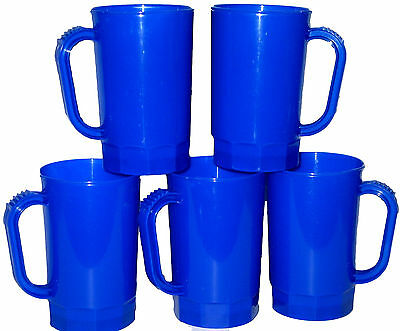 10 Plastic Blue Beer Mugs 1 Pint Steins MfgUSA Lead Free Dishwasher Safe Durable