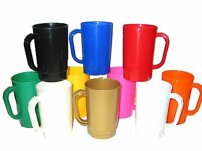 Beer Mugs 1 Pint Steins Pack 10 Mix of Colors Made in America, Lead Free Durable