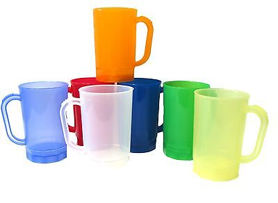 10 1 Pint Plastic Beer Mugs Choice 7 TRANSLUCENT Colors Mfg USA Lead Free No BPA