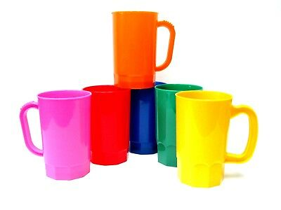 6  Plastic Beer Mugs, 1 Pint, Pack 6, Mix of Colors, Made in America, Lead Free