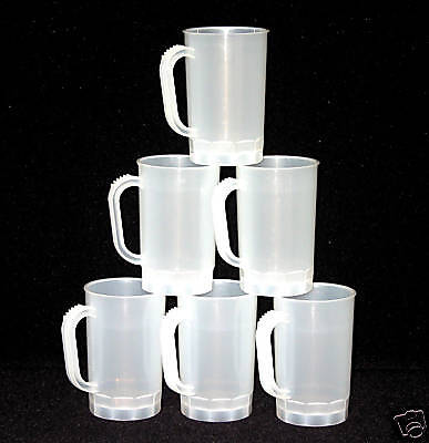 6  1 Pint Beer Mugs Natural Color Mfg USA Lead Free Dishwasher Safe Top Shelf