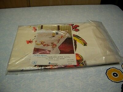 Vintage Table Cloth Still in Package Pennys Fashion Manor Printed 52 by 52