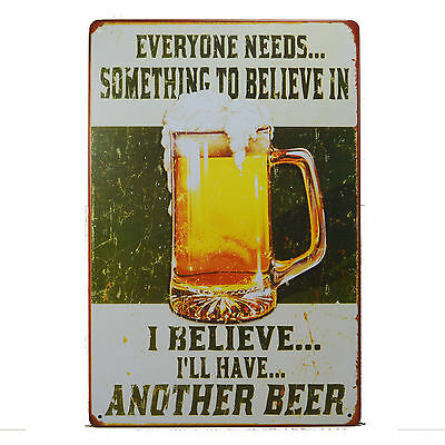 I Believe Another Beer Retro Metal Tin Sign Pub Man Cave Garage Tavern Decor