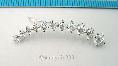 1x BRIGHT STERLING SILVER DOT CZ  CUFF CLIMBER HOOK EARRINGS for LEFT EAR #2584