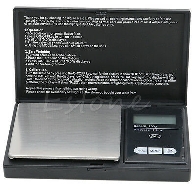 Precision Digital Scales 200g x 0.01g Reloading Powder Grain Jewelry Carat Black