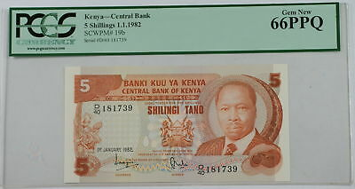 1.1.1982 Kenya Central Bank 5 Schillings Note SCWPM# 19b PCGS 66 PPQ Gem New
