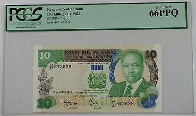 1.1.1982 Kenya Central Bank 10 Schillings Note SCWPM# 20b PCGS 66 PPQ Gem New