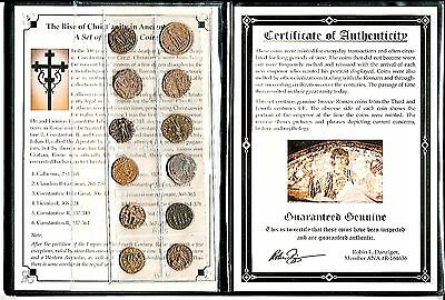 12 Bronze Roman Coins, Rise of Christianity in Ancient Rome,,Album & Certificate