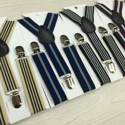 Vogue-Stripes Baby Child Clip-on Suspender Y-Back Kid Boy Elastic Suspenders E99