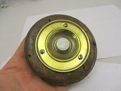 "Victorian Round Brass Door Bell with Porcelain ""PRESS"" Architectural Antique Old"