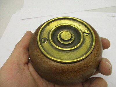 Victorian Round Brass Doorbell Wooden Surround Architectural Antique Old Push