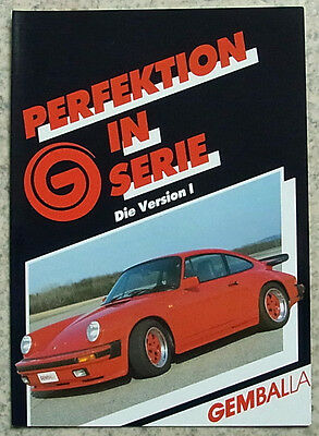 PORSCHE 911 GEMBALLA Car Sales Brochure 1980's GERMAN TEXT