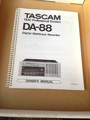 TASCAM DA-88 OWNER'S MANUAL Ring Bound Very Rare!