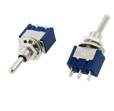 2PCS MTS-103 Mini 3 PIN BLUE Toggle Switch SPDT On-Off-On 6A 125VAC