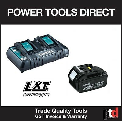 NEW MAKITA 18V CORDLESS DC18RD DUAL BATTERY CHARGER & 1 x BL1850 5AMP BATTERY