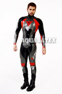 Custom Moto Suit Men Rubber Body Suit Latex Costume Latex Tight Fit Catsuit