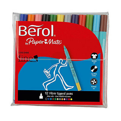 Berol Colour Fine 12 Fibre Tipped Colouring Pens Assorted Colours Free Delivery