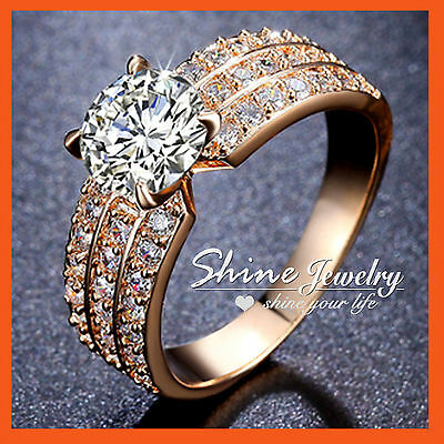 18K Gold Gf 2Ct Round Cut Solitaire Simulated Diamond Wedding Dress Band Ring