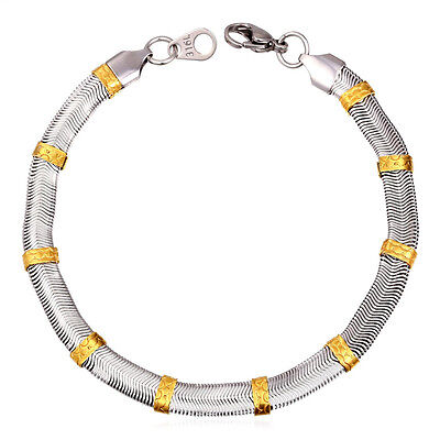 "Mens 316L Stainless Steel 18K Gold Plated Two Tone 8"" Snake Chain Bracelets"
