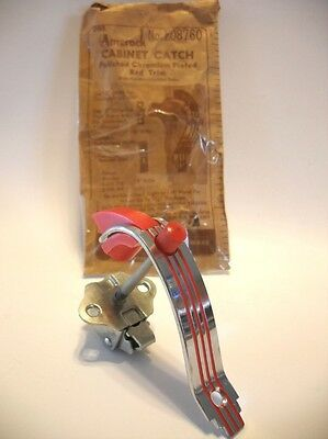 Vintage CHROME Cabinet Door Pull RED Lines RED Push Button Catch Handle Amerock • CAD $31.50