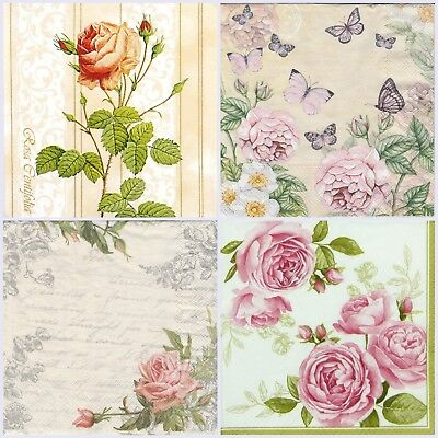 4x Paper Napkins -Botanical Mix Vintage- for Party, Decoupage Craft