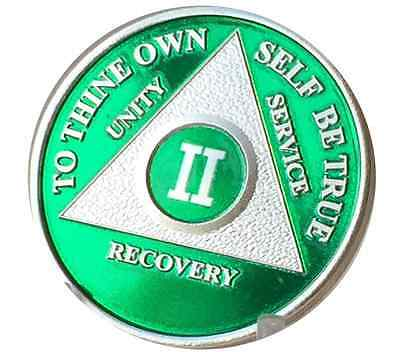 2 Year Green Silver Plated AA Medallion Alcoholics Anonymous Chip Custom Coin