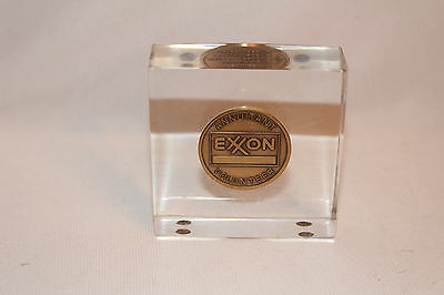 Vintage Encased Exxon Oil Annuitant Volunteer Token Award - Paperweight