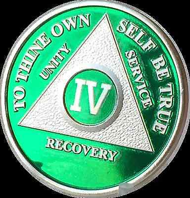 Green & Silver Plated 4 Year AA Chip Alcoholics Anonymous Medallion Coin Four