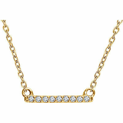 "14kt Yellow or  White Gold .07 CTW Super Petite Diamond Bar 16-18"" Necklace NEW"