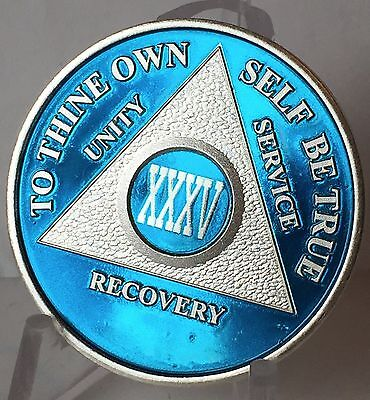 Blue Silver Plated 35 Year AA Chip Alcoholics Anonymous Medallion Coin
